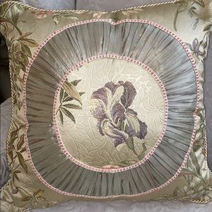 Satin Look Floral Decorative Pillow